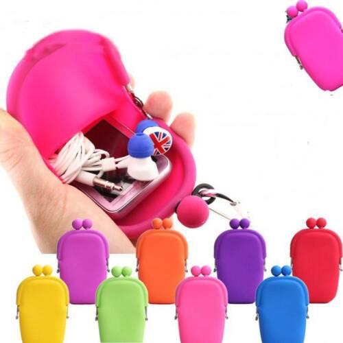 Cute Jelly caoutchouc silicone Maquillage Cosmétique Sac Coin Porte-monnaie Téléphone Portable Sac