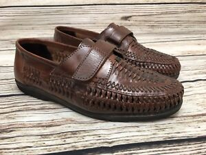 b72d9812e5d Mens LION S DEN by HABAND Brown Woven Leather Loafers Shoes SIZE 9 ...