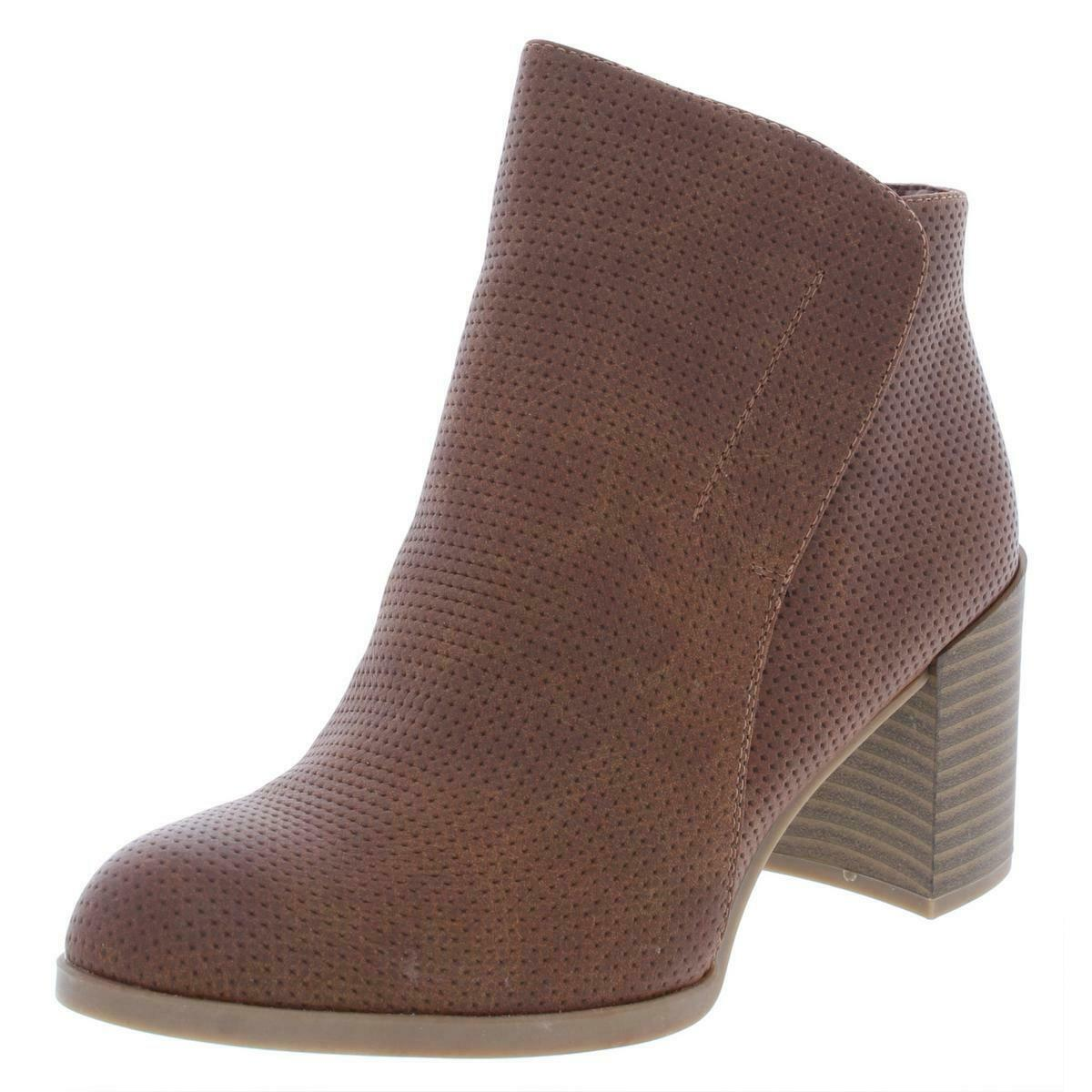 Naturalizer Womens Holt Faux Leather Ankle Perforated Booties Heels BHFO 0032