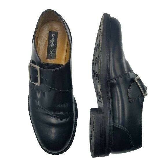 Kenneth Cole Mens 9.5 Black Monk Strap Italian Genuine Leather Slip On Loafers