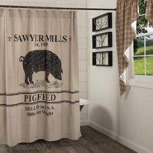 Image Is Loading Pig Farmhouse Shower Curtain Tan Cotton Chambray Grain