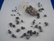 Perlenkette Collier dunkel Perlmut echte fliegende Perlen