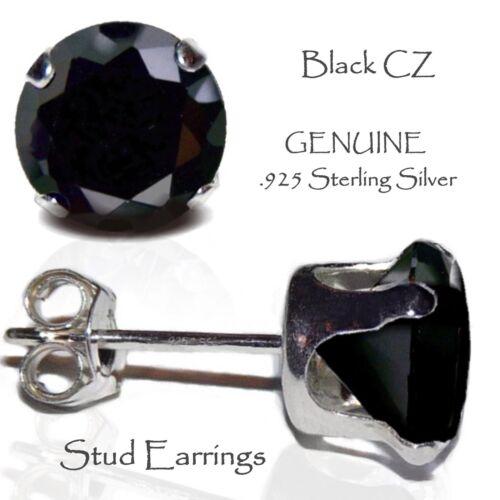 Genuine Sterling Silver Men/'s or Lady/'s Black Stud Earrings
