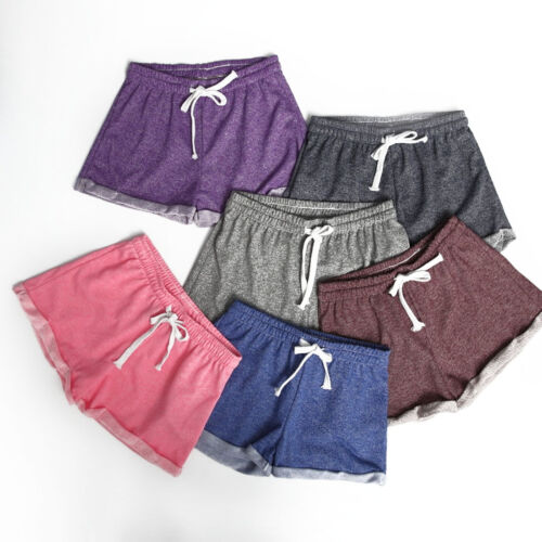 Frauen Shorts Elastische Taille Tunika Kordelzug Strand Casual Fitness Shorts