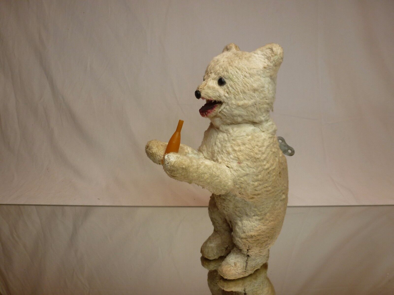 VINTAGE ANTIQUE RUSSIAN USSR WIND-UP POLAR BEAR - H24.0cm - EXTREMELY RARE