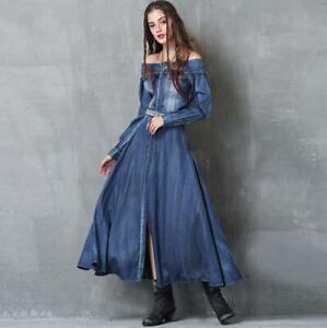 Casual Autumn Women's Denim Maxi Dress Off Shoulder Jean Long ...