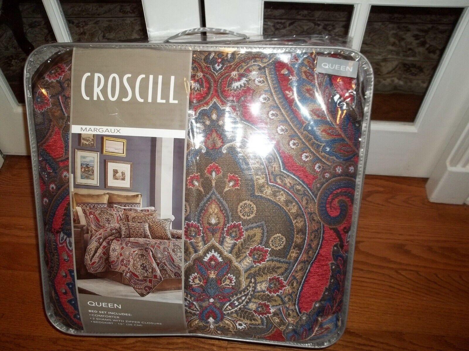 NIP Croscill Home Margaux rot Blau Jacquard Queen Comforter Set 4pc