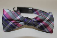 Black Brown 1826 Men's Pink & Gray Plaid Silk Blend Adjustable Bow Ties Os