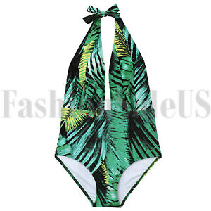 4bc518efa Retro Floral One Piece Backless Bather Swimsuit High Waisted Pin up ...