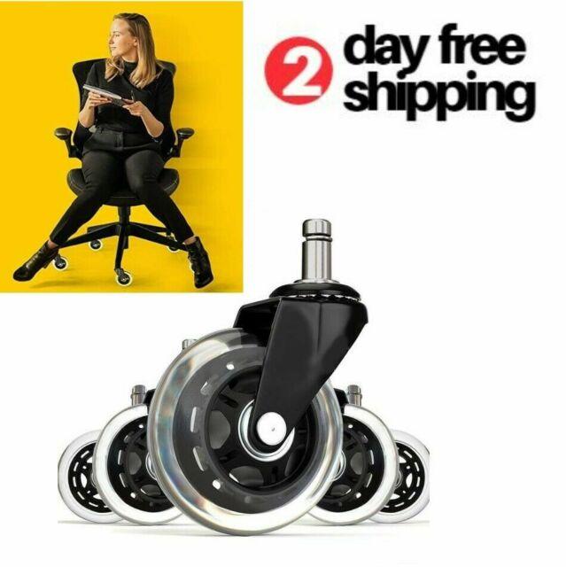 Large Office Chair Wheels Casters For Hardwood Laminate Floor Mats Safe Set Of 5 For Sale Online Ebay