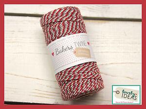 (0.09 €/m) Baker's Twine Rouge/gris/blanc 90 M Rôle Bakers Cordon Bastelschnur-afficher Le Titre D'origine Excellente Qualité