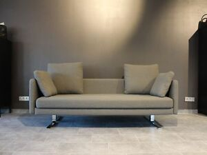 cor jura sofa 3 sitzer in olivefarbenem stoff auf chromgestell ebay. Black Bedroom Furniture Sets. Home Design Ideas