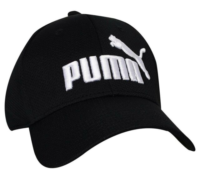 e50c3eb255 PUMA Black Evercat Stretch Fit Cap Hat Curved Bill Size Small/medium