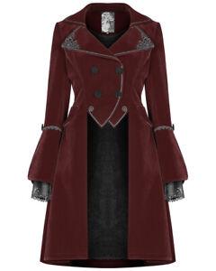 Punk-Rave-Pyon-Womens-Gothic-Velvet-Winter-Coat-Jacket-Red-Black-Steampunk-Lace