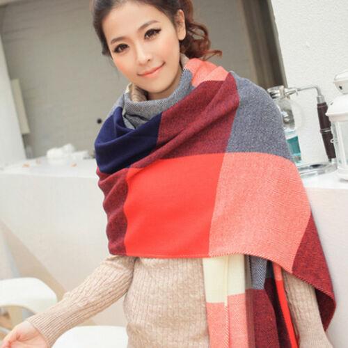 Damen Kariert Franse Schal Tüch Schultertuch Halstuch Überwurf Damenschal Scarf