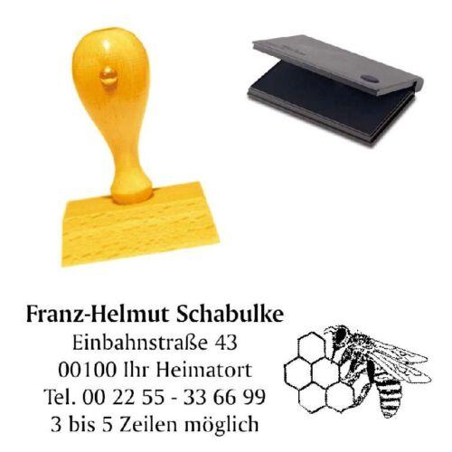 Adressenstempel « IMKER » mit Kissen Firmenstempel Imkerei Honig
