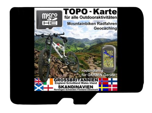 MicroSD topo carte Garmin ECOSSE ANGLETERRE uk Irlande scandinavie Basecamp GPS