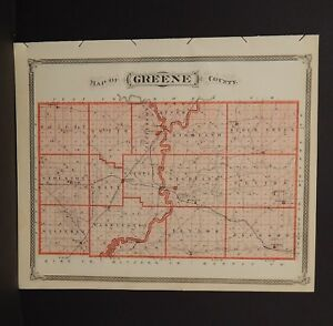 Indiana Map Greene County Vincennes Township 1876 Reverses