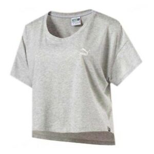 605fcaaf9cd27b Image is loading Puma-Archive-Logo-Light-Grey-Womens-Cropped-Tee-