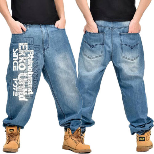 Herren Freizeit Baggy Gerades Bein Jeans Brief Hip Hop Denim Größe W30-W44