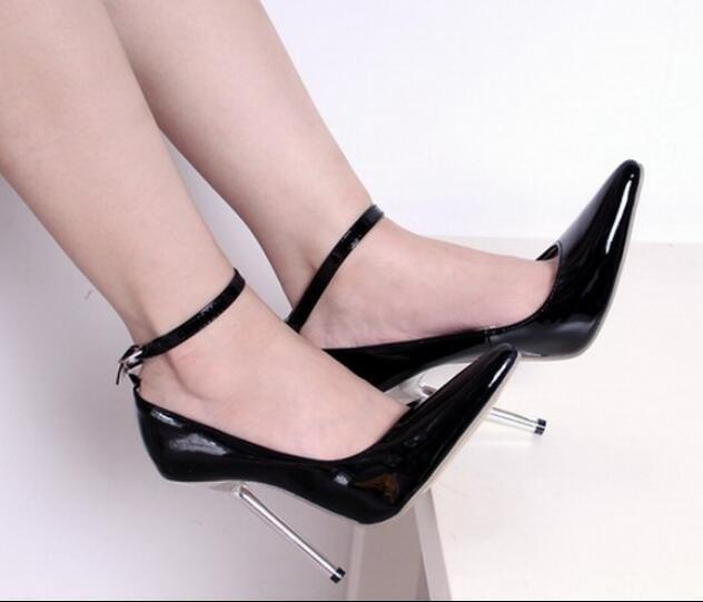 UK Womens Pointed Toe Ankle Strap Stilettos Sexy High Metal Heel shoes Mary Pump