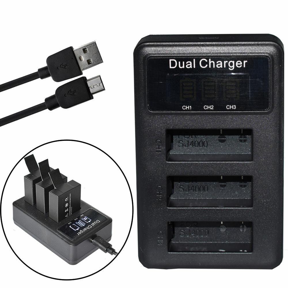 Triple PG1050 Battery Charger For SJCAM SJ4000 SJ5000X EKEN H9 H9R H8R M10 4K