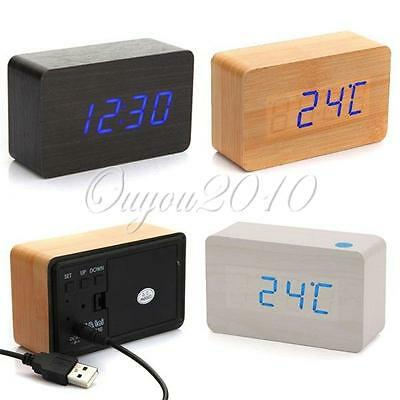 Modern Wooden Wood USB/AAA Digital LED Alarm Desk Clock Calendar Thermometer