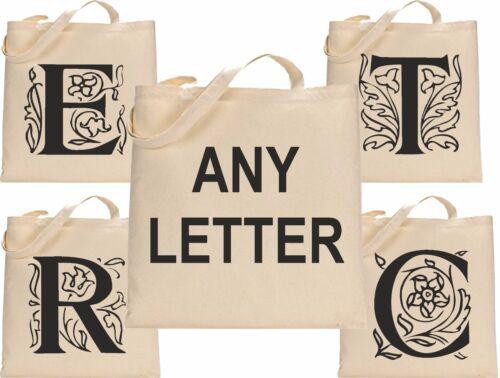 Personalised Fancy Initial 4 Canvas Tote Bag Cotton Custom Printed Shopper Bag