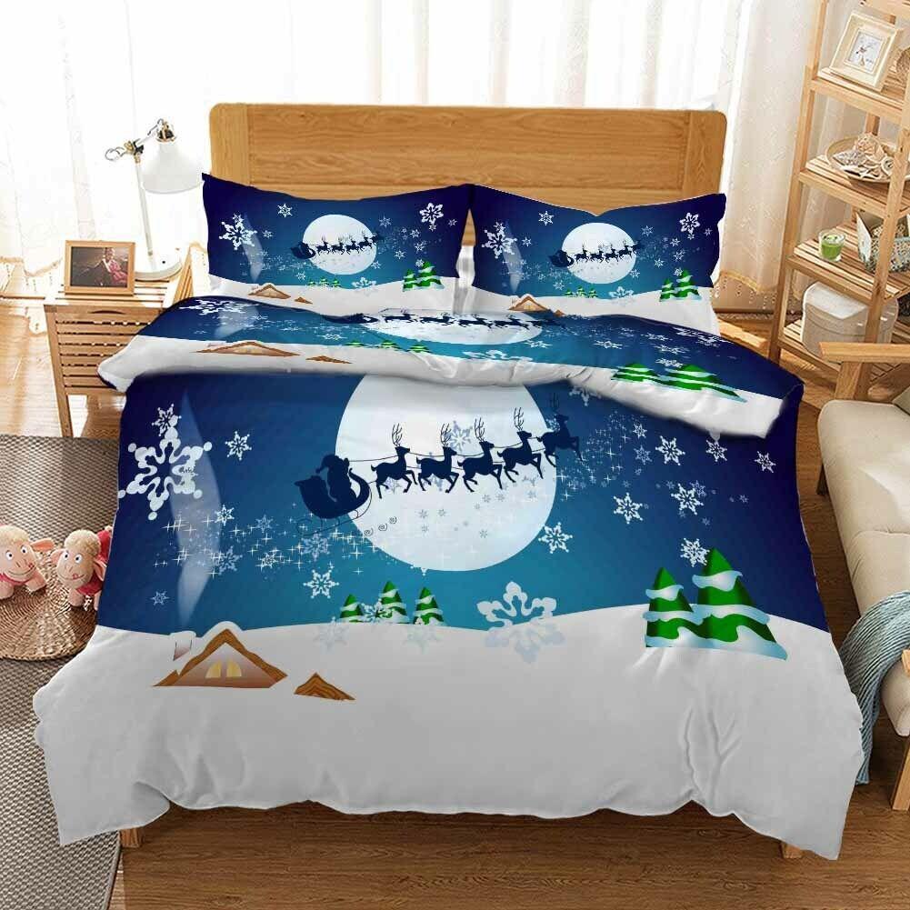 Cover House Christmas 3D Print Duvet Quilt Doona Covers Pillow Case Bedding Sets