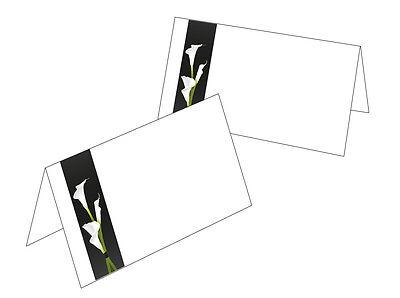 25 Tischkarten Trauer weiße Calla Namenskarten Trauerfeier Blume Platzkarte neu