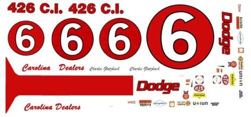 #6 Charlie Glotzbach Carolina DODGE Dealers 1/32nd Scale Slot Car Decals