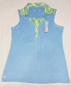 NEW-Antigua-Women-039-s-Sleeveless-Electra-Desert-Dry-Golf-Polo-Blue-Yellow-Size-M