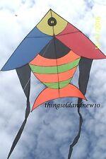 "Tuan Tuan II,Fish,Delta Kite:80"" W X 137.5""H w/Tail:Family,Beach,Flying Toy Gift"