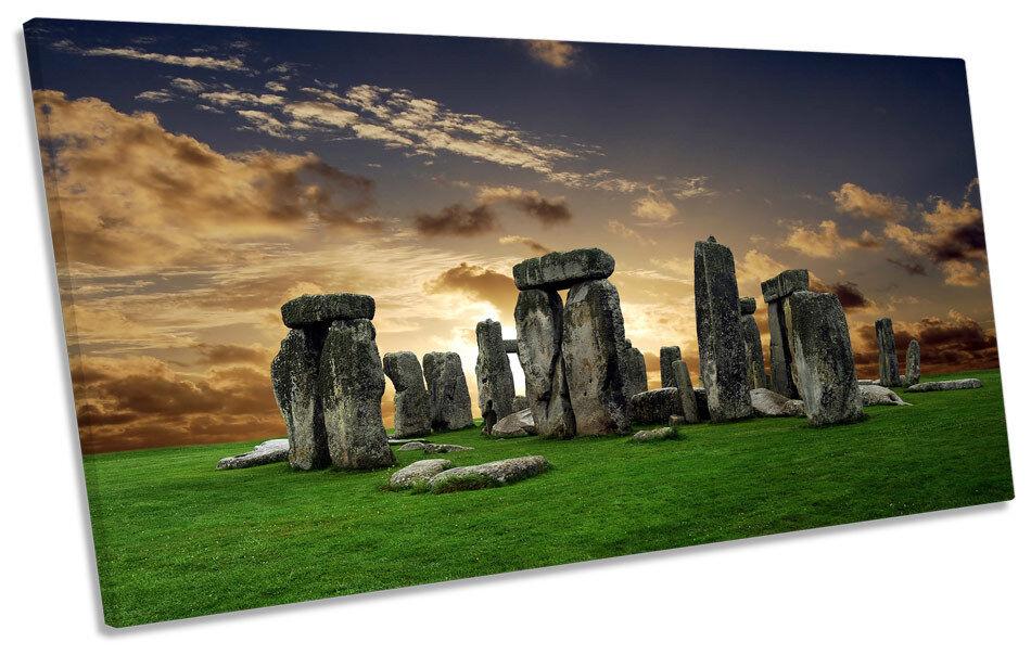 Stonehenge Landmark Sunset PANORAMA CANVAS Wand Kunst Bild Drucken