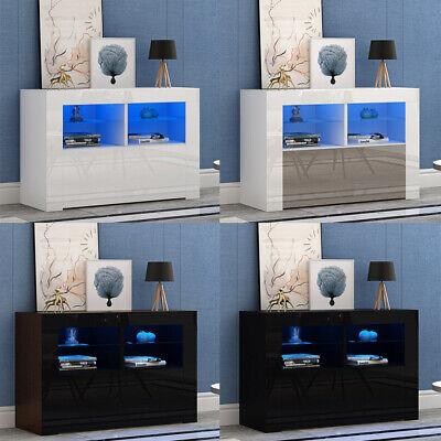 Modern 100cm TV Unit Cabinet Stand Black High Gloss Front /&Matt Body with LED UK