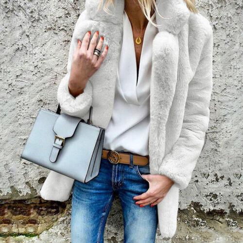 Damen Faux Pelzmantel Outwear Langarm Jacke Mantel Shaggy Umlegekragen