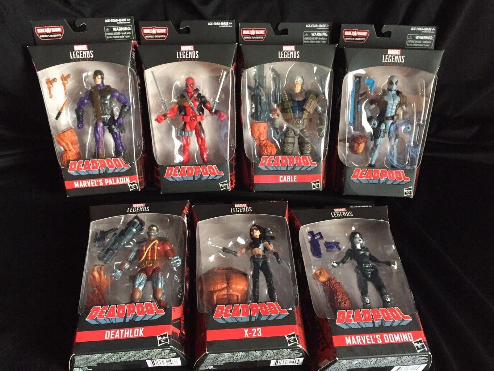 förundras Legends Deadpool Series w   Sasquatch BAF komplett uppsättning av 7 figur Ny