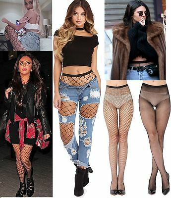 Humor New Womens Black Fishnet Mesh Leggings Thights Stockings Fancy Dress Uk 8-14