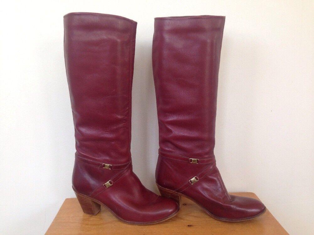 Vintage 70s Brazilian Leather Burgundy Boots Brass Western Womens Calf Boots Burgundy 7.5M 38 3dfa78