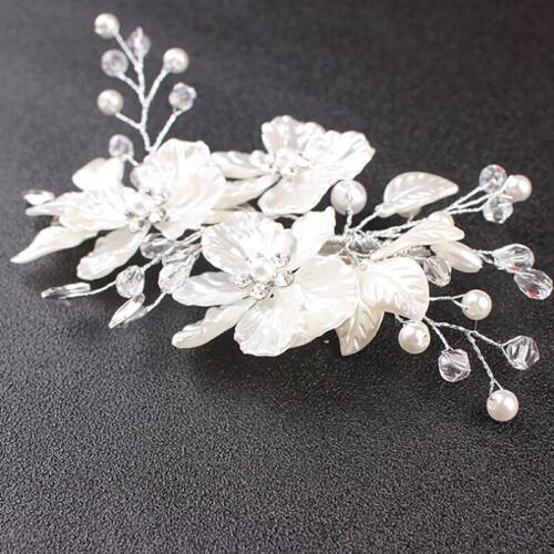 Bridal Crystal Pearl Flower Hair Clip Hair Jewelry Wedding Accessory Luxury FG