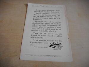 1903 MAGAZINE AD #A4-092 - SCHLITZ BEER - PURITY