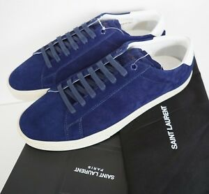 da2389a0354 SAINT LAURENT SL-06 Blue Suede Court Classic LOW-TOP Sneakers EU-41 ...