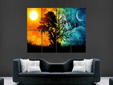 DAY NIGHT FANTASY SUN MOON   ART WALL LARGE IMAGE GIANT POSTER !
