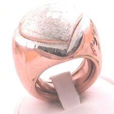 ANELLO donna ARGENTO 925‰ placcato oro rosa e cuore diamantato misura regolabile