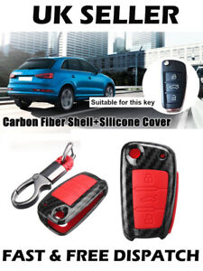 Carbon-Fibre-Red-Car-Remote-Key-Case-Shell-Silicone-Cover-Audi-A1-S3-A5-Q3Q7-TT