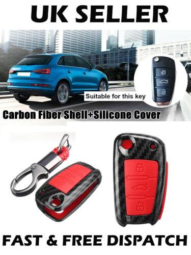 Fibra de Carbono rojo coche remoto clave cáscara caso cubierta de silicona Audi A1 S3 A5 Q3Q7 TT