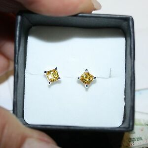 Canary-Yellow-Princess-Diamond-Alternatives-Stud-Earrings-14k-Gold-over-925-SS