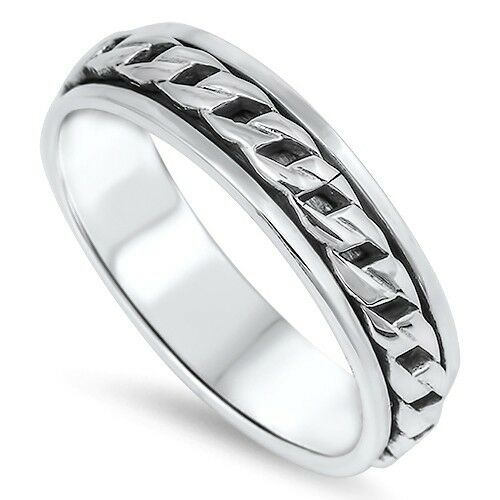 .925 Sterling Silver Chain Twist Style Spinner Ring Size 7-13 NEW
