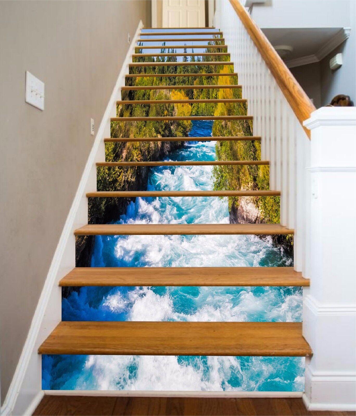3D Fluss Bach 875 Stair Risers Dekoration Fototapete Vinyl Aufkleber Tapete DE