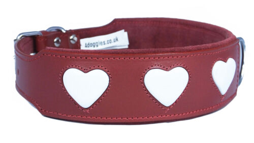 Collier de chien en cuir rouge White Hearts Staffy Staffordshire Bull Terrier
